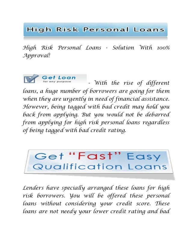 High Risk Personal Loans Solution With 100 Approval