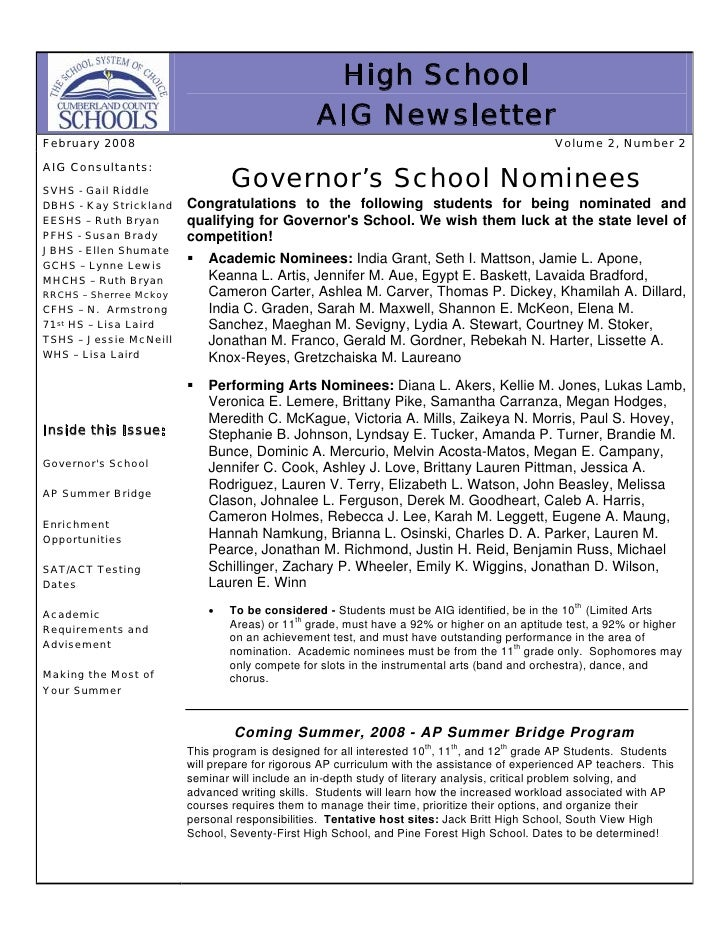 High School                                                 AIG Newsletter February 2008                                  ...