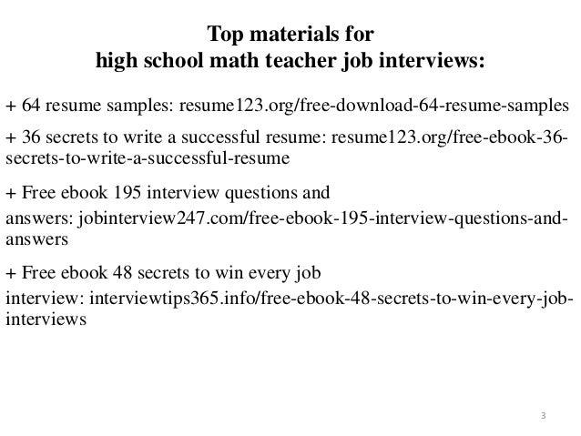 High School Math Teacher Resume Sample Pdf Ebook Free Download