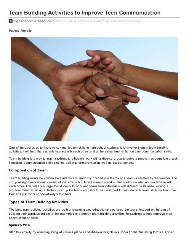 Team Building Activities to Improve Teen Communication highschoolmediator.com/team-building-activities-to-improve-teen-com...