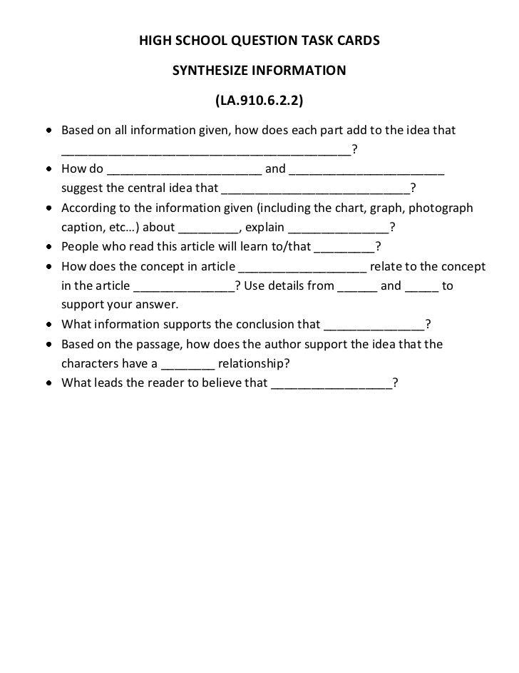 High school question task cards big