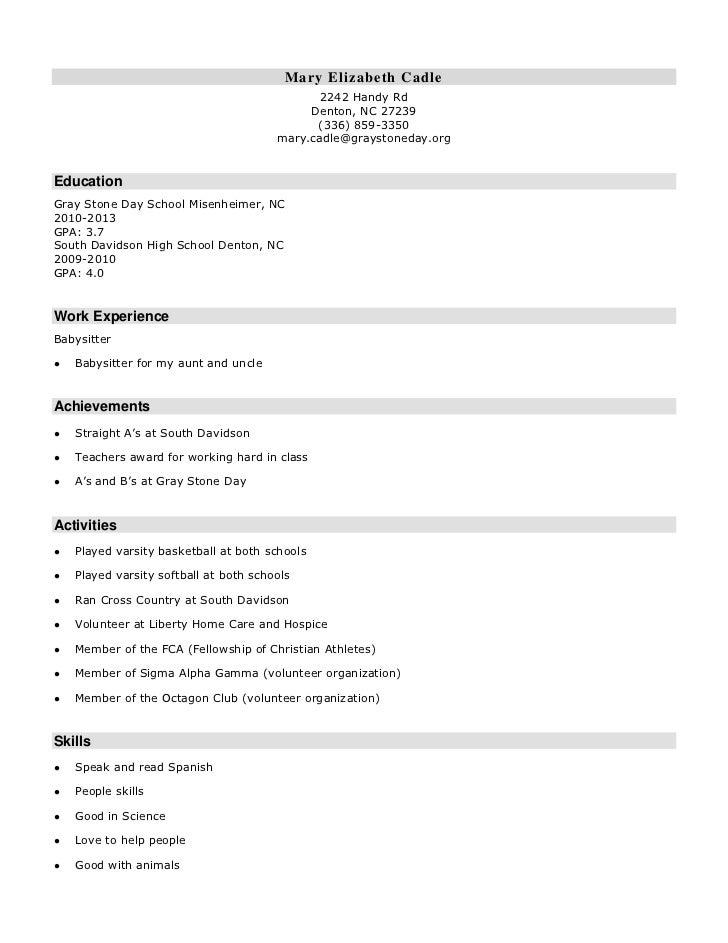 High School Resume. Mary Elizabeth Cadleu003cbr /u003e2242 Handy Rdu003cbr /u003e Denton,  ... Pertaining To High School Resume Skills
