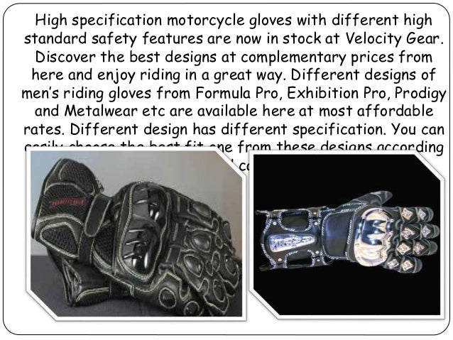 High specification motorcycle gloves with numerous features from velocity gear Slide 2