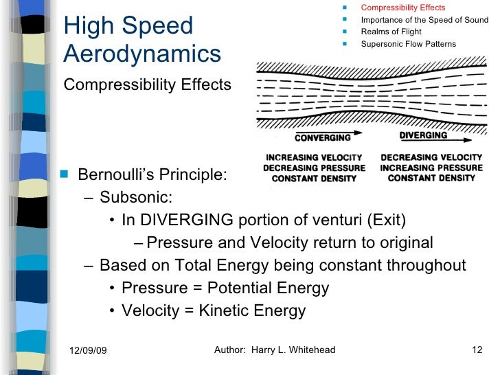 High Speed Aerodynamics <ul><li>Bernoulli's Principle: </li></ul><ul><ul><li>Subsonic: </li></ul></ul><ul><ul><ul><li>In D...
