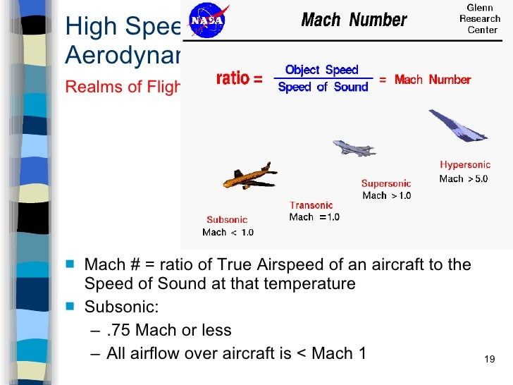High Speed Aerodynamics <ul><li>Mach # = ratio of True Airspeed of an aircraft to the Speed of Sound at that temperature <...