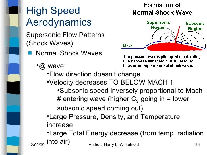 High Speed Aerodynamics <ul><li>Normal Shock Waves </li></ul>Supersonic Flow Patterns (Shock Waves) <ul><li>@ wave: </li><...
