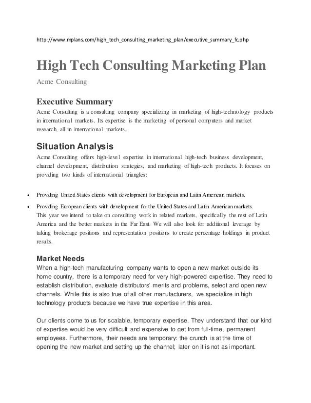 http://www.mplans.com/high_tech_consulting_marketing_plan/executive_summary_fc.php High Tech Consulting Marketing Plan Acm...