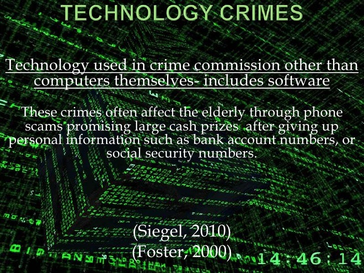 technology and crime This presents challenges for the law enforcing agencies to check the potentiality of changing techniques of crime commission fundamental scientific research enables the development of new technologies for crime prevention increased involvement of the science and technology community in crime reduction strategy is,.