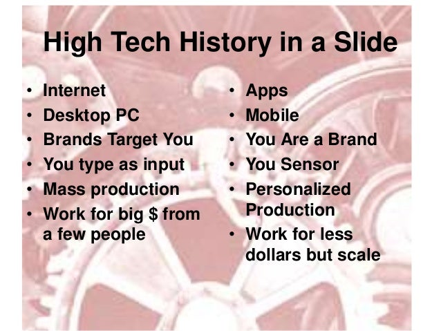 High Tech History in a Slide• Internet• Desktop PC• Brands Target You• You type as input• Mass production• Work for big $ ...