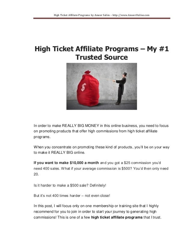 High Ticket Affiliate Programs - My #1 Trusted Source