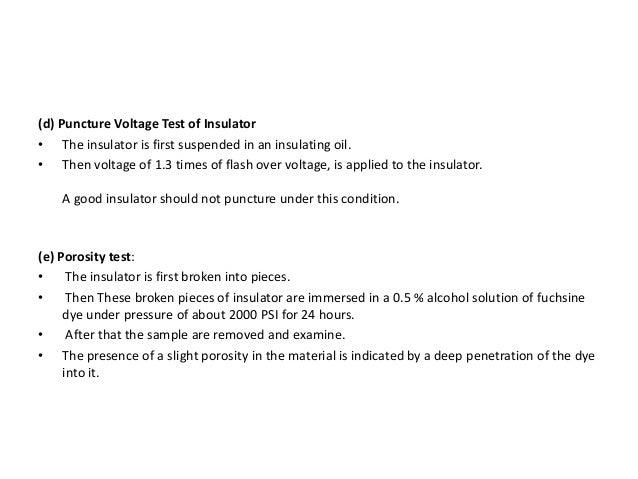 High Voltage Insulator Failures : Hv testing of insulator