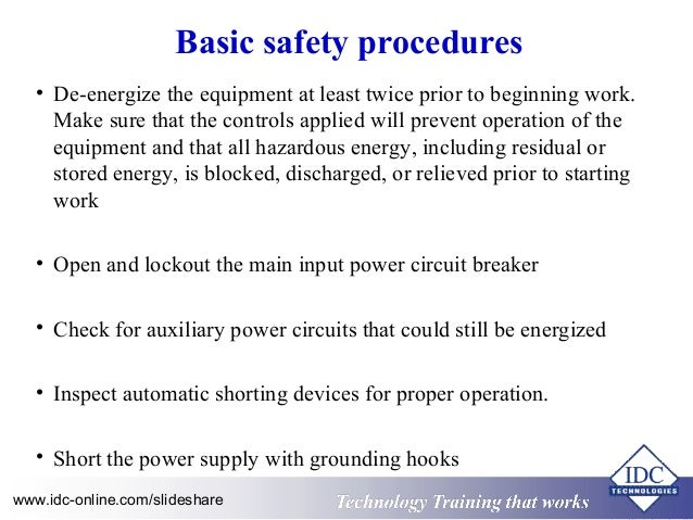 High Voltage Safety Operating Procedures for Engineers and Technicians
