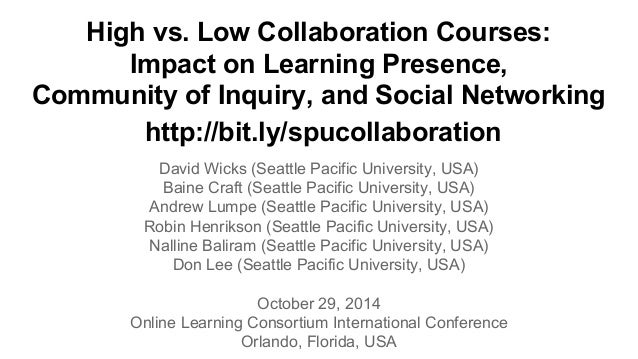 High vs. Low Collaboration Courses:  Impact on Learning Presence,  Community of Inquiry, and Social Networking  http://bit...