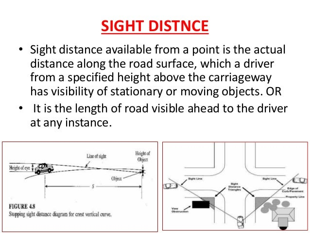 Criteria for measurement • (h) h H IRC • H = 1.2m • h = 0.15m •Height of driver's eye above road surface (H) •Height of ob...