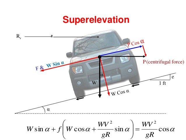 Design ofSuperelevation • Step-1: The Superelevation for 75 percent of design speed (v m/sec/kmph) is calculated neglectin...