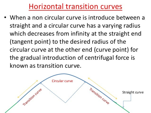 Example-1 • Calculate the length of the transition curve and shift using the following data; Design speed= 65 kmph Radiu...
