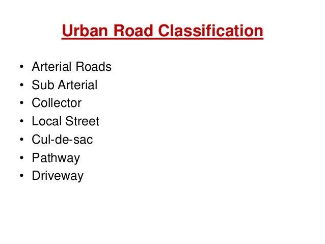 Urban Road Classification • Arterial Roads • Sub Arterial • Collector • Local Street • Cul-de-sac • Pathway • Driveway