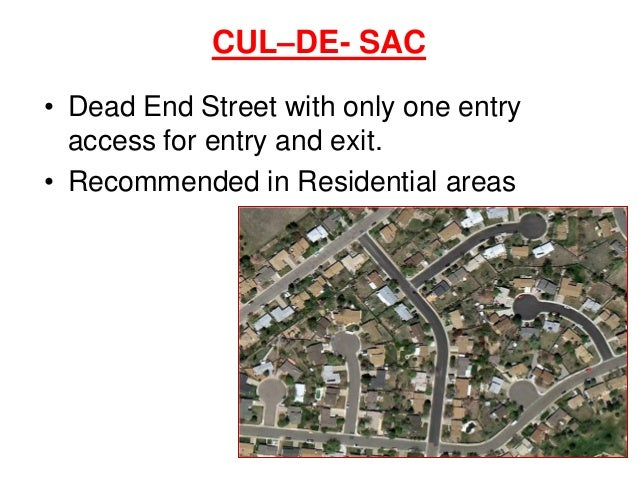 CUL–DE- SAC • Dead End Street with only one entry access for entry and exit. • Recommended in Residential areas