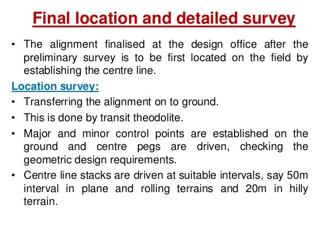 Drawing and Report  Key map  Index map  Preliminary survey plans  Detailed plan and longitudinal section  Detailed cr...