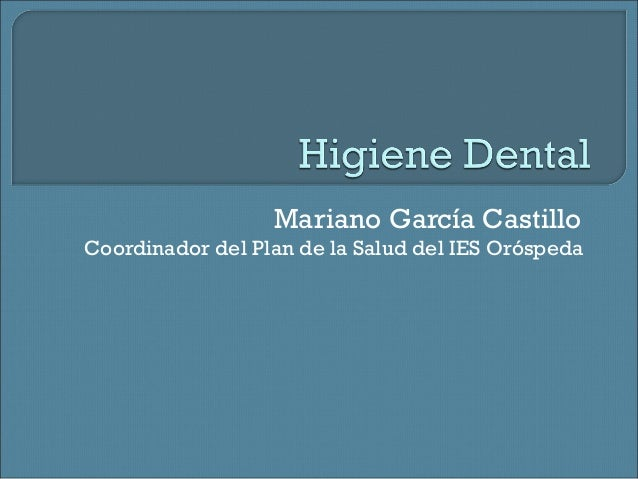 Mariano García Castillo Coordinador del Plan de la Salud del IES Oróspeda