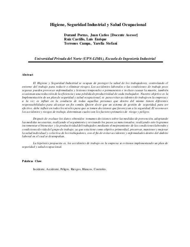 Higiene, Seguridad Industrial y Salud Ocupacional Durand Porras, Juan Carlos [Docente Asesor] Ruiz Castillo, Luis Enrique ...