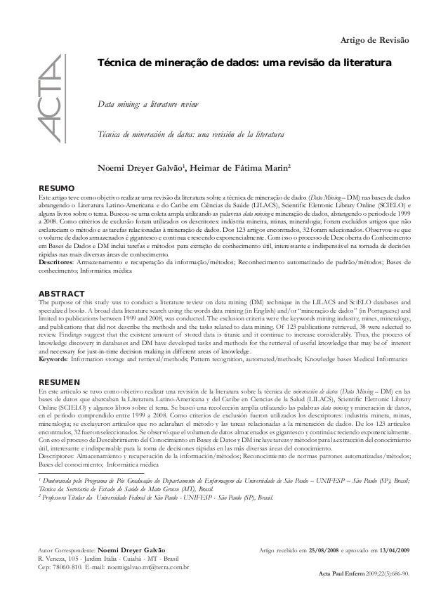 Artigo de Revisão Técnica de mineração de dados: uma revisão da literatura Data mining: a literature review Técnica de min...