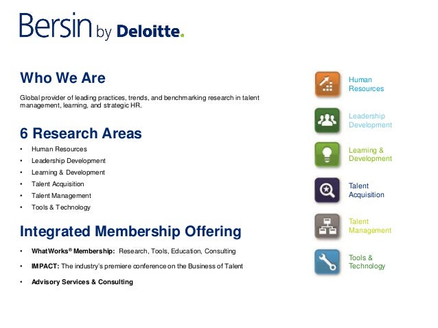 Who We Are  Global provider of leading practices, trends, and benchmarking research in talent  management, learning, and s...