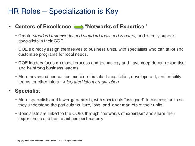 Specialization Is