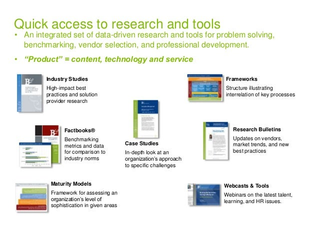 Quick access to research and tools  • An integrated set of data-driven research and tools for problem solving,  benchmarki...