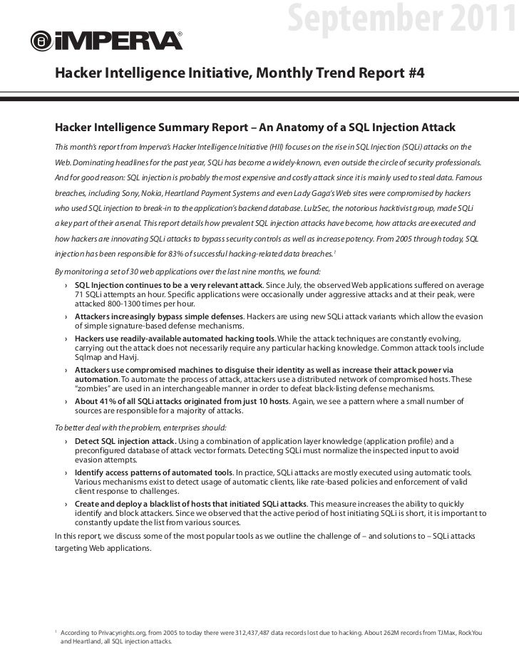 September 2011Hacker Intelligence Initiative, Monthly Trend Report #4Hacker Intelligence Summary Report – An Anatomy of a ...