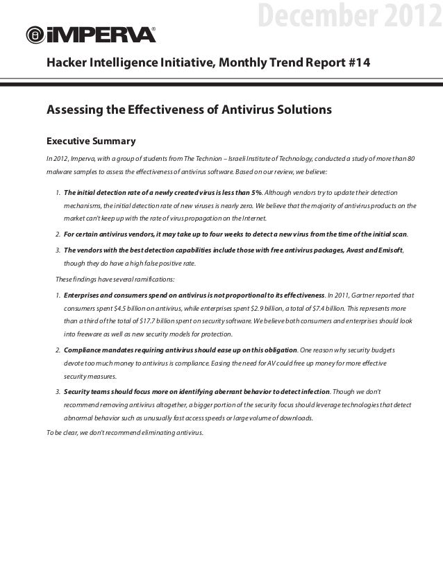 December 2012Hacker Intelligence Initiative, Monthly Trend Report #14Assessing the Effectiveness of Antivirus SolutionsExe...