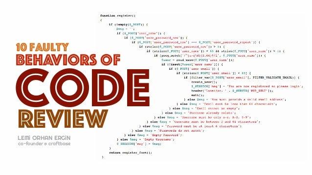 10 faulty review code behaviors of LEMi ORHAN ERGiN co-founder @ craftbase