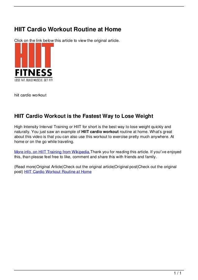HIIT Cardio Workout Routine At Home Click On The Link Below
