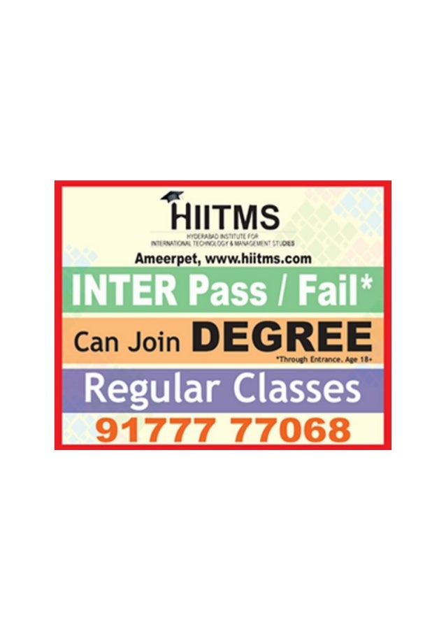 Inter Fail Join Direct Regular Degree in Hyderabad