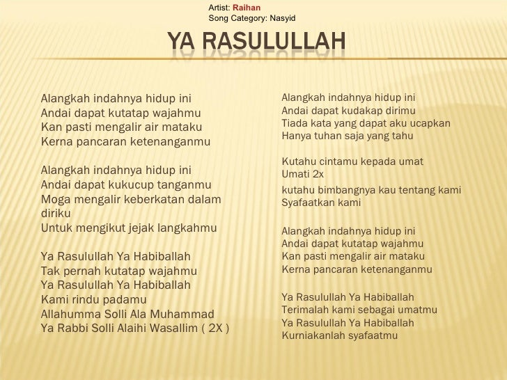 Nasyid raihan for android apk download.