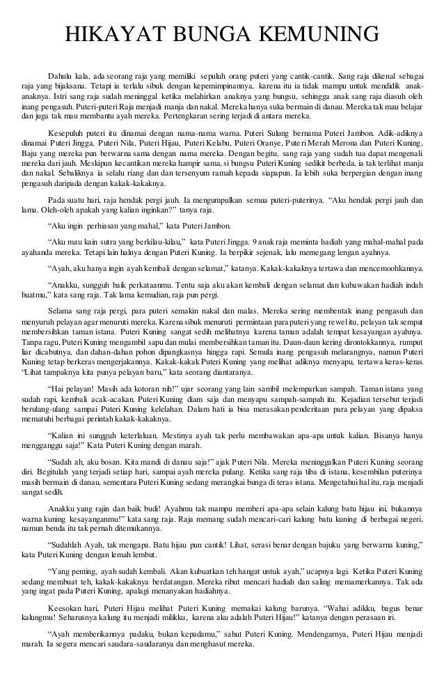 Cerita Hikayat Bunga Kemuning Singkat