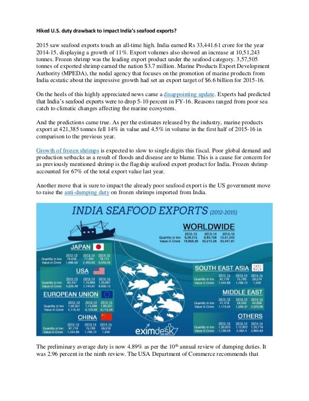 Hiked U.S. duty drawback to impact India's seafood exports? 2015 saw seafood exports touch an all-time high. India earned ...