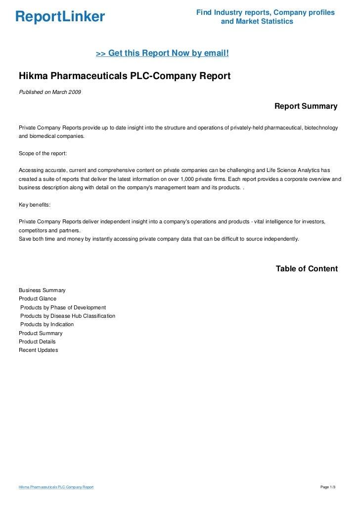 Hikma Pharmaceuticals PLC-Company Report