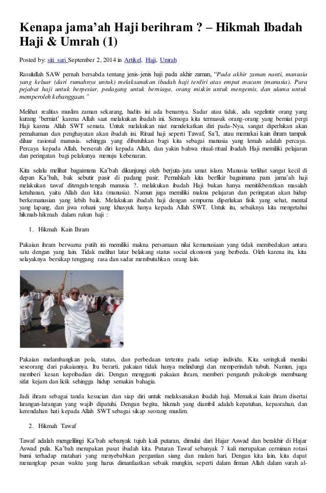 Kenapa Jamaah Haji Berihram Hikmah Ibadah