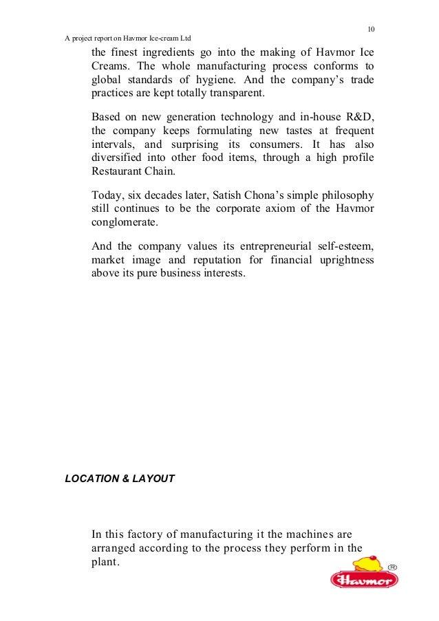 Project Report On Havmor Ice-Cream