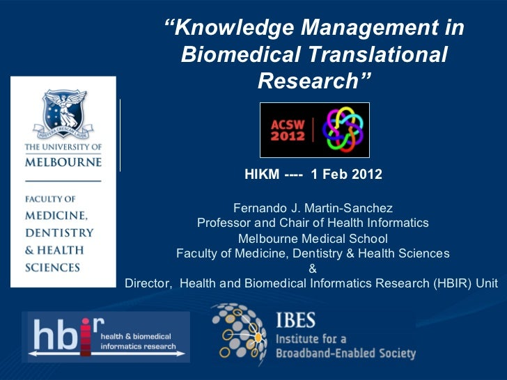 """Knowledge Management in       Biomedical Translational             Research""                          HIKM-ACW           ..."