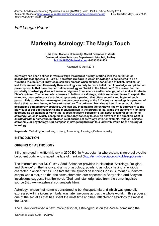 Journal Academic Marketing Mysticism Online (JAMMO). Vol 1. Part 4. 56-64. 5 May 2011 Available Online at http://www.journ...