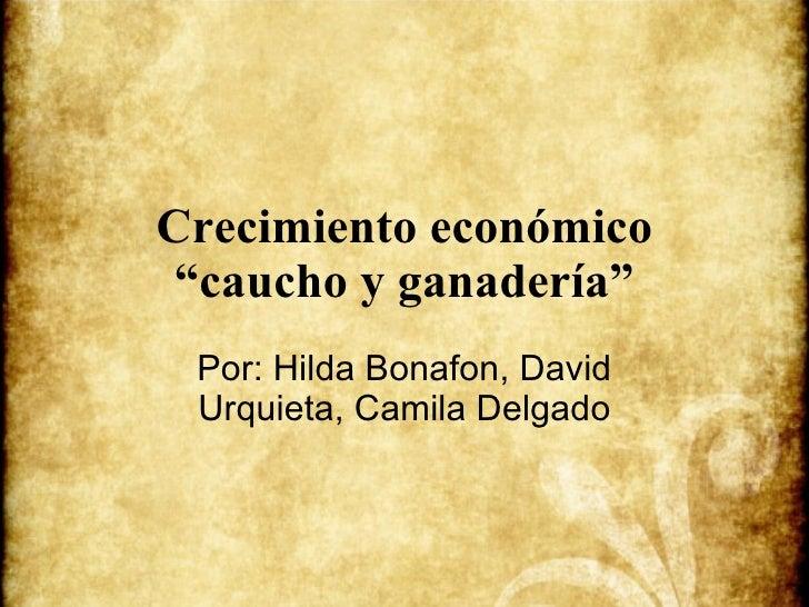 """Crecimiento económico """"caucho y ganadería"""" Por: Hilda Bonafon, David Urquieta, Camila Delgado"""