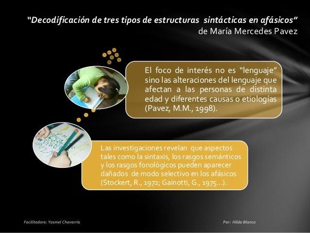 """Decodificación de tres tipos de estructuras sintácticas en afásicos"""" de María Mercedes Pavez  Para desarrollar este estudi..."""