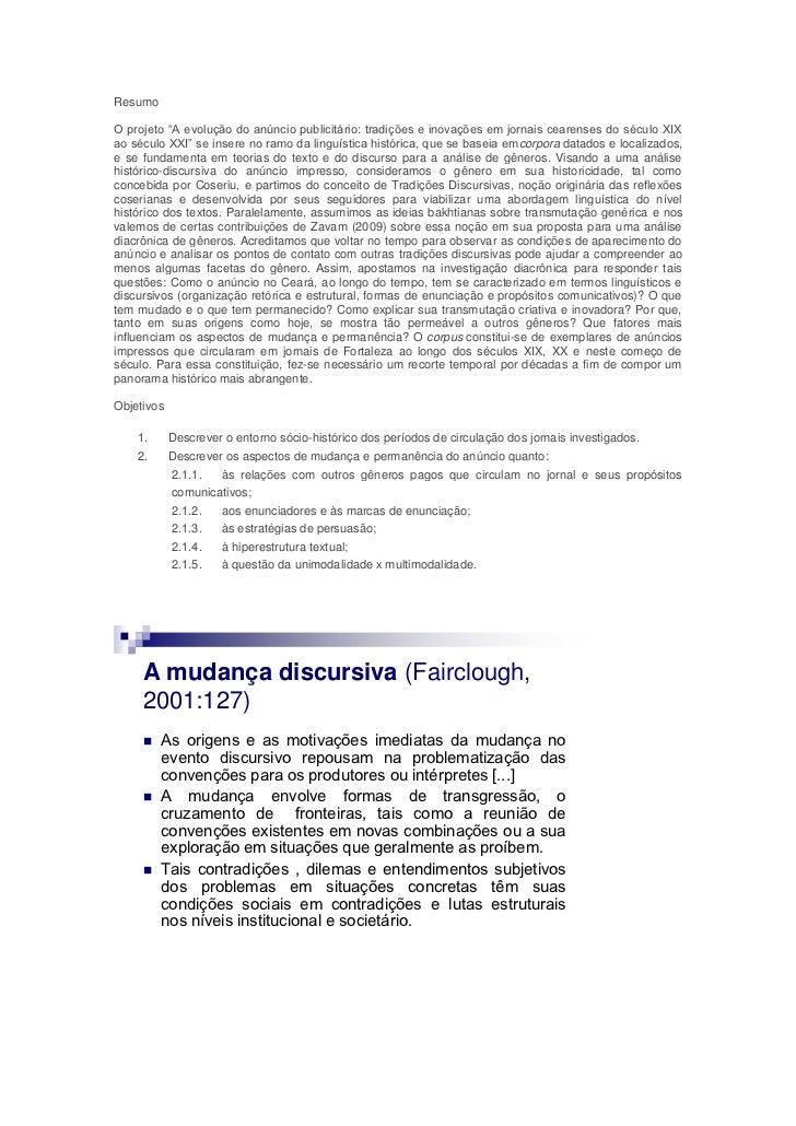 """ResumoO projeto """"A evolução do anúncio publicitário: tradições e inovações em jornais cearenses do século XIXao século XXI..."""