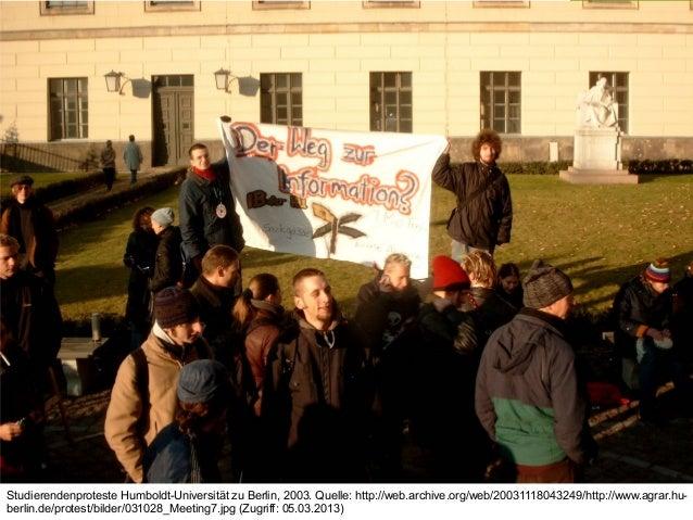 Mitglied der FHO Fachhochschule OstschweizStudierendenproteste Humboldt-Universität zu Berlin, 2003. Quelle: http://web.ar...