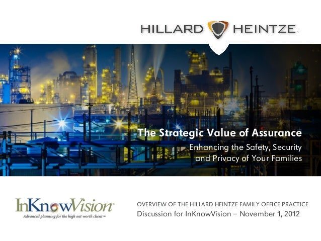 The Strategic Value of Assurance                            Enhancing the Safety, Security                             and...