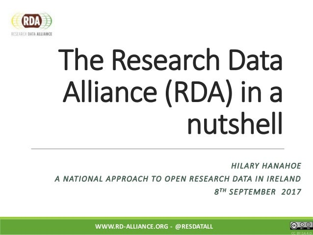 The Research Data Alliance (RDA) in a nutshell WWW.RD-ALLIANCE.ORG - @RESDATALL CC BY-SA 4.0 HILARY HANAHOE A NATIONAL APP...