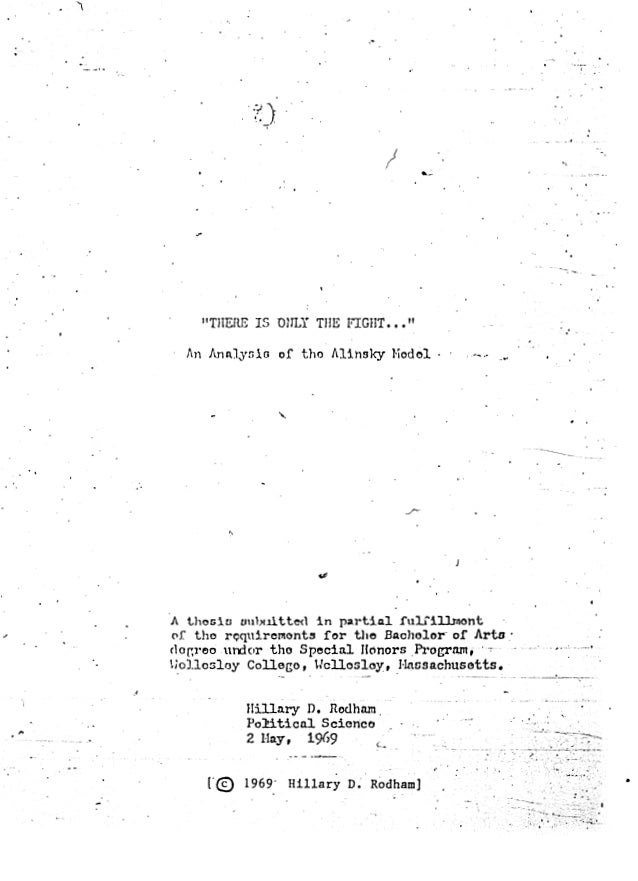 Hillary's senior thesis about activist Saul Alinsky.