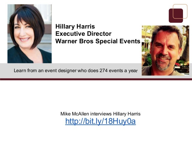 Learn from an event designer who does 274 events a yearMike McAllen interviews Hillary Harrishttp://bit.ly/18Huy0aHillary ...